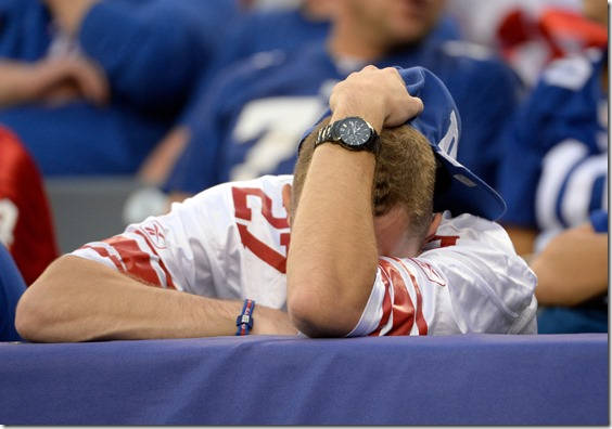 Oct 6, 2013; East Rutherford, NJ, USA; A fan of the New York Giants reacts during the game against the Philadelphia Eagles at MetLife Stadium. Mandatory Credit: Robert Deutsch-USA TODAY Sports